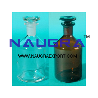 Reagent Bottles Narrow Mouth with interchangeable hexagonal hollow stopper for Science Lab