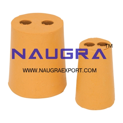 Rubber Stoppers TWO HOLE for Chemistry Lab