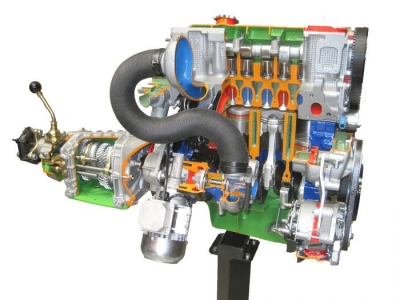 Gas Engine, 4 Cylinder, with Carburetor and Gearbox