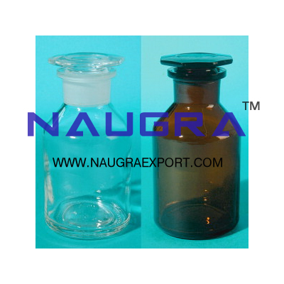 Reagent Bottles Wide Mouth with interchangeable hexagonal hollow stopper for Science Lab
