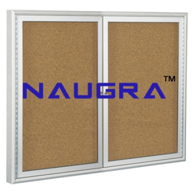 Indoor Enclosed Aluminum Bulletin Boards 2 Doors for Whiteboard Lab