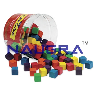 2 cm Wooden Color Cubes for Maths Lab