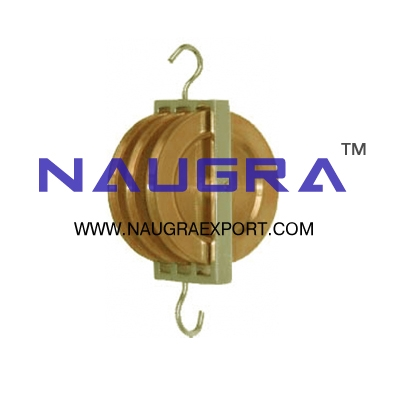 Pulley Triple Parallel Brass for Physics Lab