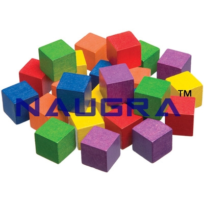 1 Inch Wooden Color Cubes - Set of 102 for Maths Lab